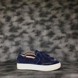 J Slides Aztec Navy Suede Slip-On Sneakers